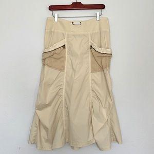 XCVI Khaki Cotton Blend Cargo Skirt, Size Medium